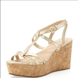 Kate Spade Tropez gold cork wedge sandals